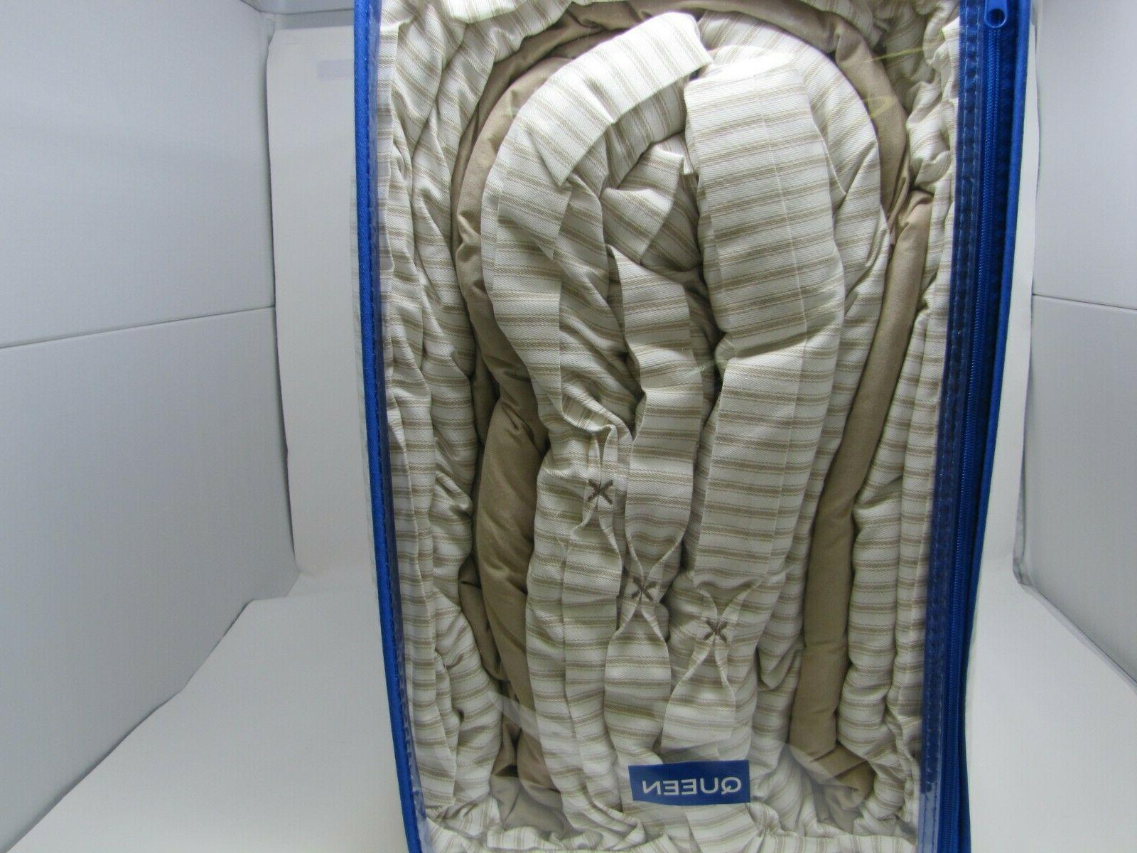 SOUTHERN TIDE BEIGE WHITE TICKING 4 COMFORTER