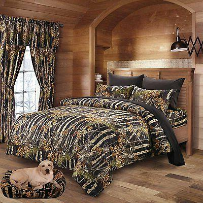 "7PC SET BLACK CAMO COMFORTER SHEET SET WOODS 86"" X 94"" QUEEN"
