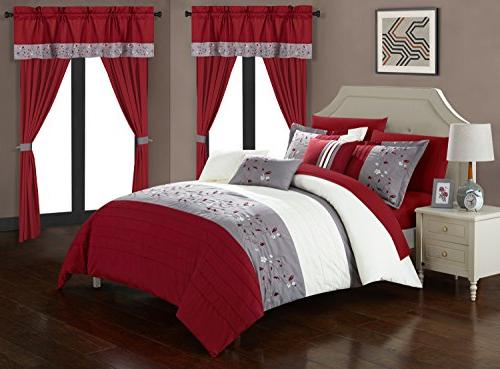 Chic Sonita Piece Block Embroidered Bag Bedding, Red