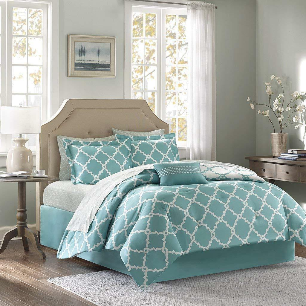turquoise 10 piece bed in a bag