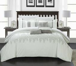 laura embroidered oversized overfilled comforter set white