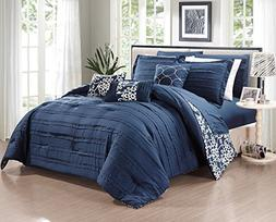 Chic Home Lea 10 Piece Reversible Comforter Bed, King, Navy
