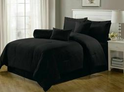 Chezmoi Collection Lex 7-Piece Solid Black Hotel Dobby Strip
