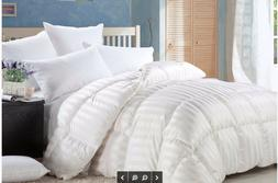 LUXURIOUS BAFFLE BOX Siberian GOOSE DOWN STRIPE Comforter 12