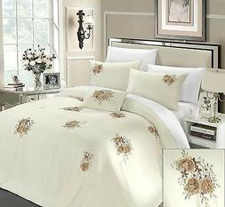 Luxury 5PC King Size Quatrefoil Embroidered Sage Green/Brown