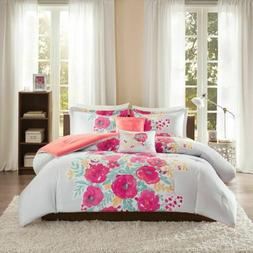 Luxury Coral Pink & Grey Floral/Checkered Comforter Set AND