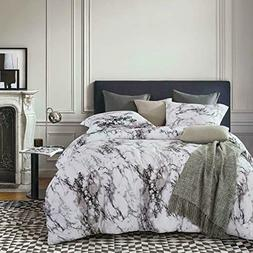 Wake In Cloud - Marble Comforter Set, Gray Grey Black and Wh