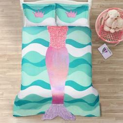 Lush Decor Mermaid Ruffle 3Piece Comforter Set, Full, Pink/P
