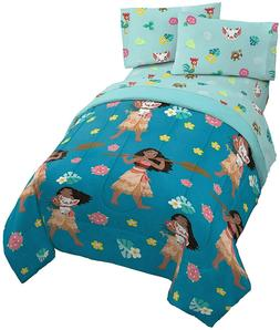 Moana Disney Flower Power 4 Piece Twin Bed Set for Girls Bed