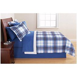 6 Piece Navy Blue Plaid Checkered Comforter Twin Set With Sh