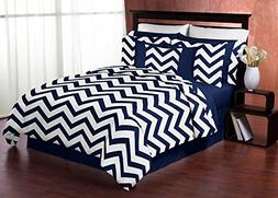 Navy Blue and White Chevron 3 Piece Bed in a Bag Zig Zag Kin