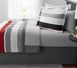 New 8 Piece King Size Comforter Set Red Grey Bedding With Sh