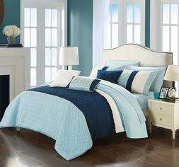 New Chic Home Osnat 8 Pc. Twin Comforter Set Blue Quilted De