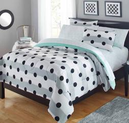 New Polka Dot Girls Queen Size Comforter Set Teen Bedding Sh