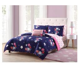 New Purple Floral Queen Size Comforter Set Sheets Reverse Pi