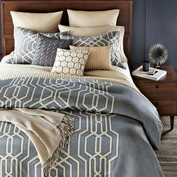 NEW Oake Vertices 100% Pima Cotton Twin Comforter Grey A382