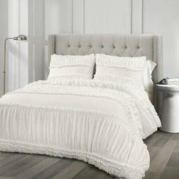 Nova Ruffle 3 Piece Comforter Set by Lush Decor, White, Full