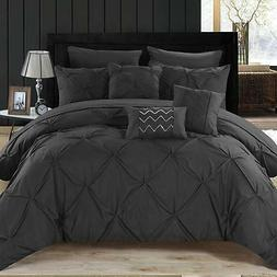 Pinch Pleat Design 10 Piece Comforter Polyester Set Solid Bl