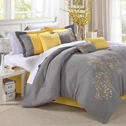Pink floral Yellow Comforter Bed In A Bag Set 12 piece - Kin