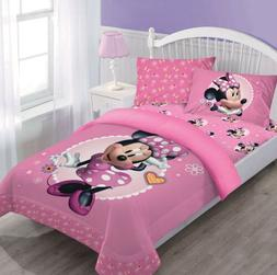 Disney Pink Minnie Mouse Comforter+Fitted Sheet+Pillow Case