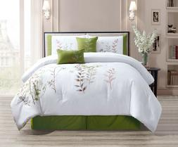 Premium Embroidered Comforter Set, 100% Polyester, 6 Pieces,