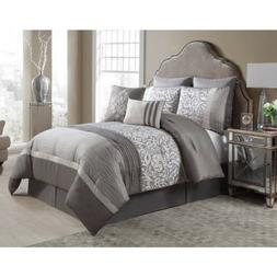 Queen King Bed Silver Gray Grey Taupe Floral Pleat Pintuck 8