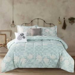 Queen or King Floral Country Farmhouse 5 Piece Comforter Bed