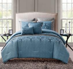 Queen or King Size Comforter Set Bedding Blue Embroidered El