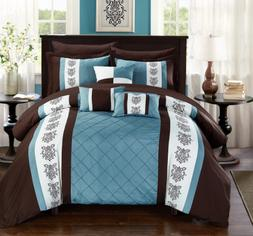 Queen or King Size Comforter Set Brown Blue Bedding Elegant