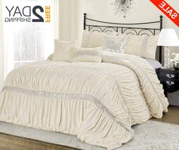 Queen Size Bed Ivory Cream Silver Sequin Striped 7 pc Comfor
