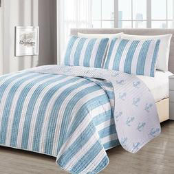 quilt set shams queen reversible blue beach