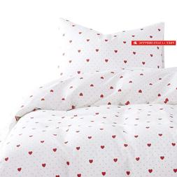 Wake In Cloud - Red Love Comforter Set, 100% Cotton Fabric W