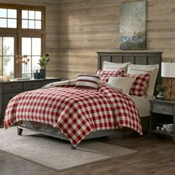 red plaid and checkered pattern reversible cotton
