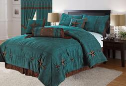 Rustic Turquoise Embroidery Texas Star Western Luxury Comfor