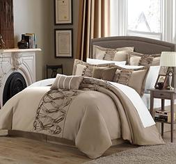 Chic Home 8-Piece Ruth Ruffled Comforter Set, King, Taupe