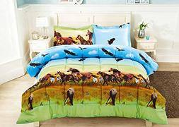 2 Piece Set Wild Horse and Eagle 3d Comforter Set  Twin