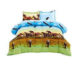 3 Piece Set Wild Horse and Eagle 3d Comforter Set Y25 King