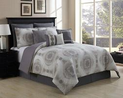 9 Piece Sloan Taupe/Gray 100% Cotton Comforter Set Queen