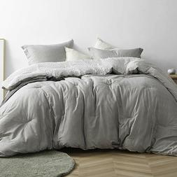 Soft 100% Cotton Grey Checkered 3 pcs King Queen Comforter S
