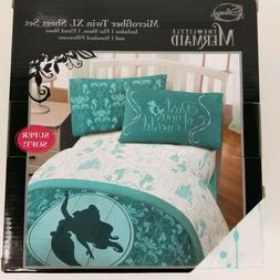 Disney The Little Mermaid Microfiber Twin XL Green Sheet Set