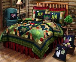 TIMBERLINE Lodge Patchwork Twin Quilt MOOSE BEAR CABIN TREES