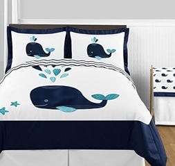 Turquoise, Navy Blue and White Whale Nautical Ocean Boys or