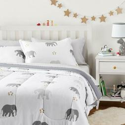Twin XL Full Queen Bed Bag White Gray Grey Elephants 7 pc Co