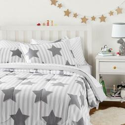 Twin XL Full Queen Bed Bag White Gray Grey Stars Striped 7pc