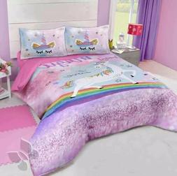 UNICORN AND RAINBOW GIRLS REVERSIBLE COMFORTER SET 3 PCS QUE
