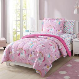 Unicorn Comforter Set Full Bedding For Girls Rainbow Hearts