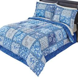 venice blue comforter set with bedskirt by