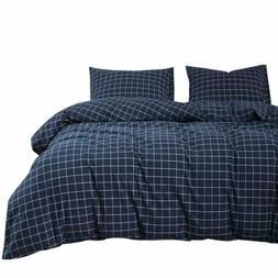 Wake In Cloud - Navy Grid Comforter Set, Navy Blue with Whit
