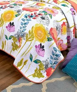 Watercolor King Quilt Comforter Floral Flower Pattern Bedroo