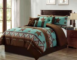 Western Pattern Turquoise Rustic Brown Star Comforter Set -